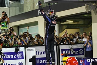 Waiting for Sebastian Vettel after winning his first world championship